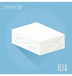 Greek feta cheese block vector