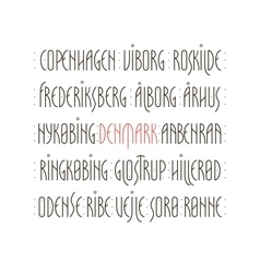 Denmark s cities lettering vector