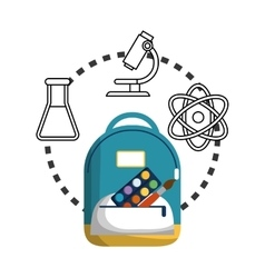 Cartoon school bag palette paint brush chemistry vector