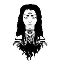 Stylish beautiful young girl with long curly hair vector image