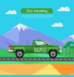 Transport green pickup on road near mountains vector