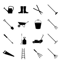 set of gardening icons vector image