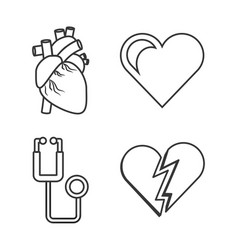 Set heart conditions and stethoscope tool vector