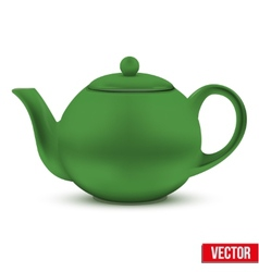Green ceramic teapot vector