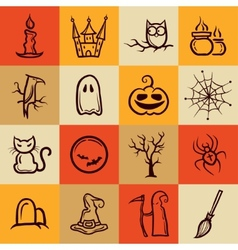 Set of retro graphical halloween icons vector