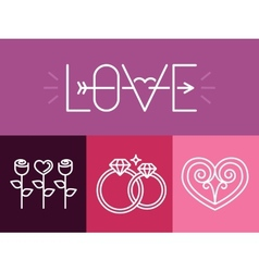 Outline love signs and logos vector