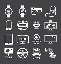 Icons set technology design vector