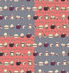seamless food and drink pattern vector image