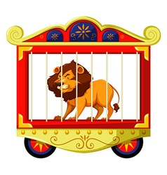 Lion in circus cage vector