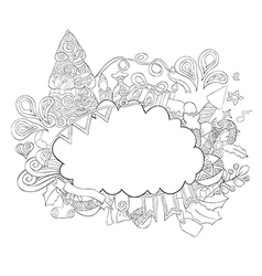 Cloud on icon new year hand lettering vector