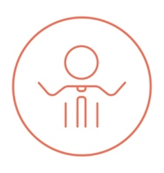 Man with raised arms line icon vector