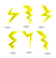 Powerful lightning bolts set vector