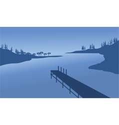 Pier of silhouette vector