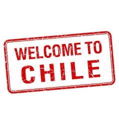 Welcome to chile red grunge square stamp vector