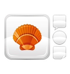 Sea beach and travel icon with scallop shell on vector