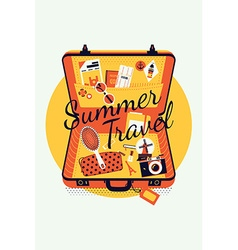 Summer travel on an open suitcase vector