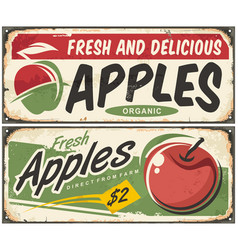 apples retro signs vector image vector image