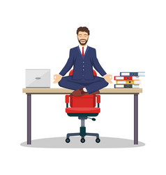 business man manager sitting on office desk vector image vector image