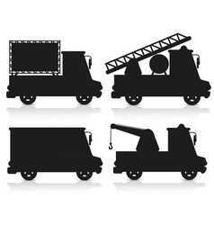 Car icon set black silhouette vector