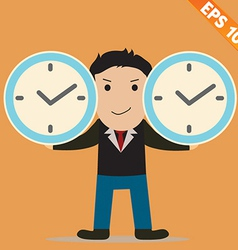 Cartoon businessman with time management - - vector