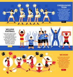Cheerleaders team 3 flat banners vector