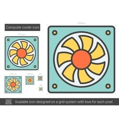 Computer cooler line icon vector