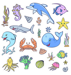 cute ocean animals vector image