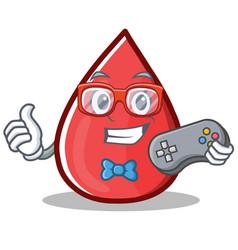 Gamer blood drop cartoon mascot character vector