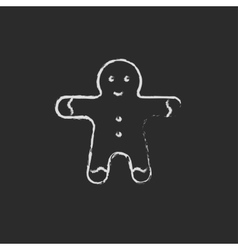 Gingerbread man icon drawn in chalk vector