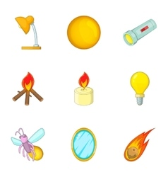 Glowing objects icons set cartoon style vector image