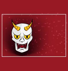 Hanya mask on red background with sakura vector
