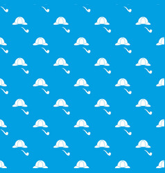 hat and pipe pattern seamless blue vector image vector image