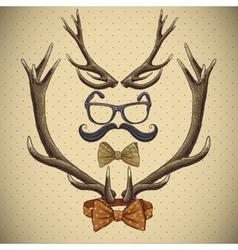 Hipster vintage background with deer antlers vector