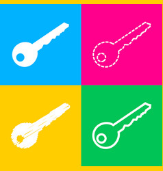 Key sign four styles of icon on four vector