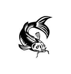 Koi nishikigoi carp fish woodcut vector