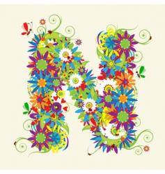 letter N floral design vector image vector image