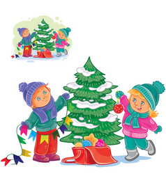 Little boy and girl decorating a christmas vector