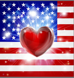 Love america flag heart background vector