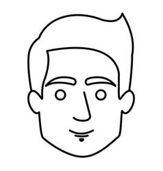 Monochrome contour of man face with short hair vector