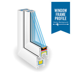 Plastic profile energy saving window three vector