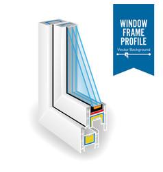 plastic profile energy saving window three vector image