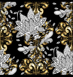 Seamless element woodcarving patina black white vector
