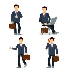 Set of businessmen character in black suit vector image