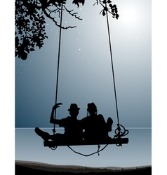 silhouette of couple of friends on a swing vector image vector image