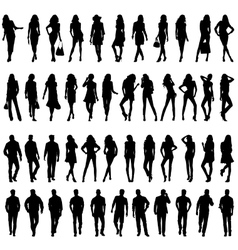 Silhouettes of happy young women and men vector image vector image