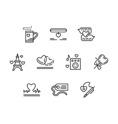 Simple line love relationship icons vector image vector image