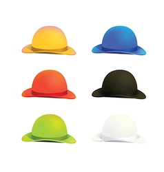 Six Colors Bowler or Derby Hat vector image vector image
