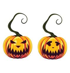 Spooky halloween pumpkins vector