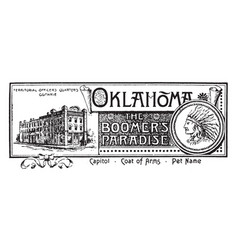 The state banner of oklahoma the boomers paradise vector