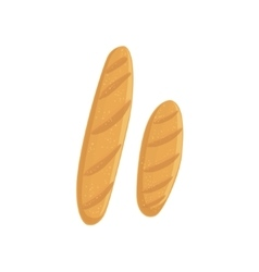 Two baguette bakery assortment icon vector